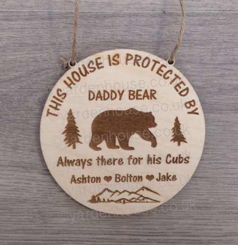Bear Plaque 'This house is protected by' Birch Ply